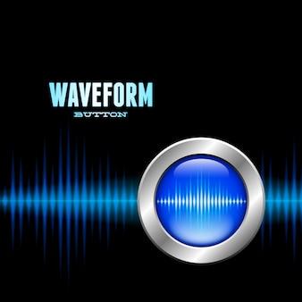 Botón plateado con señal de forma de onda de sonido