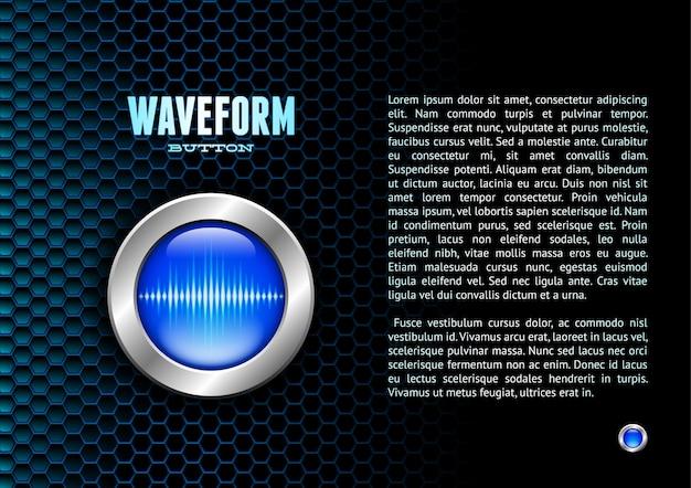 Botón plateado con señal de onda de sonido