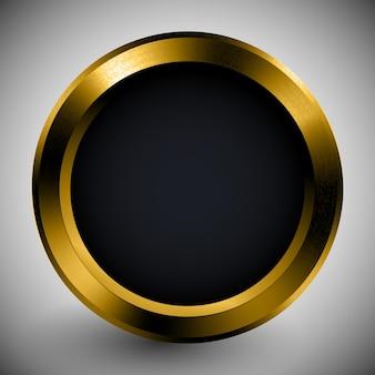 Botón realista plantilla negra en marco dorado textura de metal objeto tecnológico anillo maqueta icono de superficie