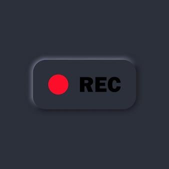 Botón rec. actualmente grabando. elementos de la interfaz de usuario para aplicaciones móviles. tema oscuro. estilo neumorfismo. eps10 vectorial. aislado en el fondo.