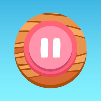 Botón redondo de pausa de la interfaz de usuario de la aplicación móvil rosa blanco rojo amarillo marrón con patrón de madera vector premium