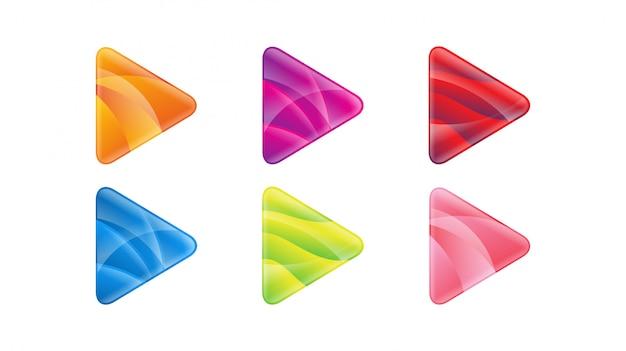 Botón de reproducción brillante gradiente logo icono vector plantilla