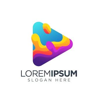 Botón de reproducción logo medios