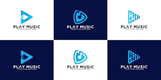 Botón de reproducción de música de logotipo creativo de colección