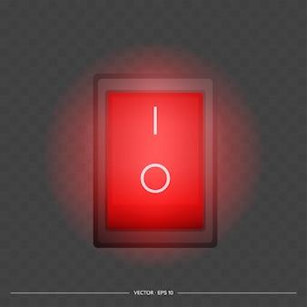 Botón rojo de encendido y apagado. el botón de encendido rojo se ilumina. aislado. vector.