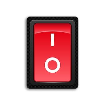 Botón rojo interruptor de encendido y apagado.