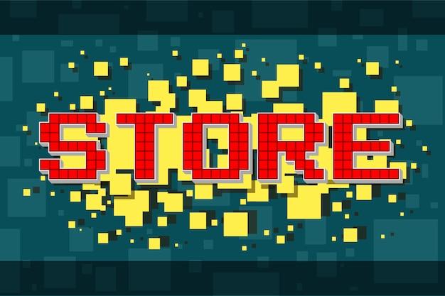 Botón rojo de la tienda de píxeles para videojuegos