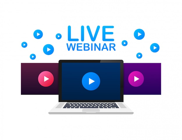 Botón de seminario web en vivo, emblema, etiqueta. ilustración.
