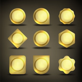 Botón set color oro forma