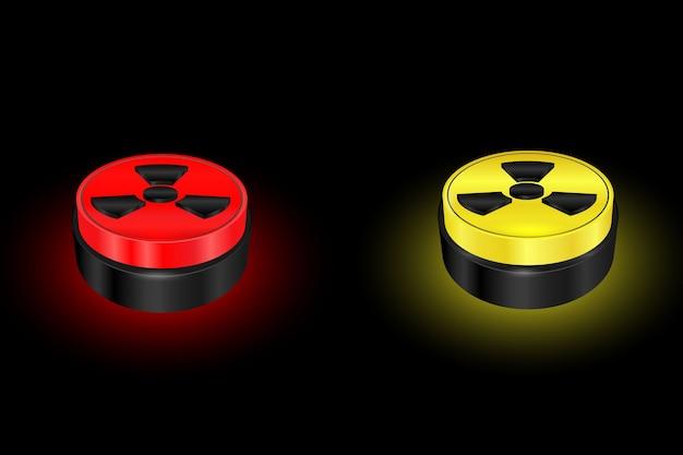 Botón de símbolo de radiación, señal de advertencia, nuclear, peligro