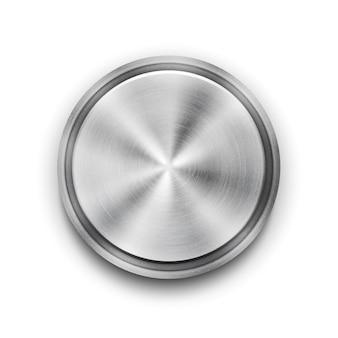 Botón con textura de metal circular plateado vectorial con un patrón de textura de círculo concéntrico y una ilustración de vector de vista aérea de brillo metálico