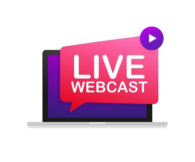 Botón de transmisión web en vivo en la ilustración de la computadora portátil