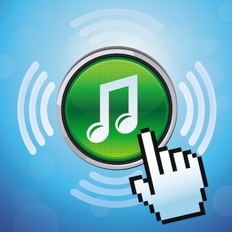 Botón vectorial con nota musical y cursor de mano.