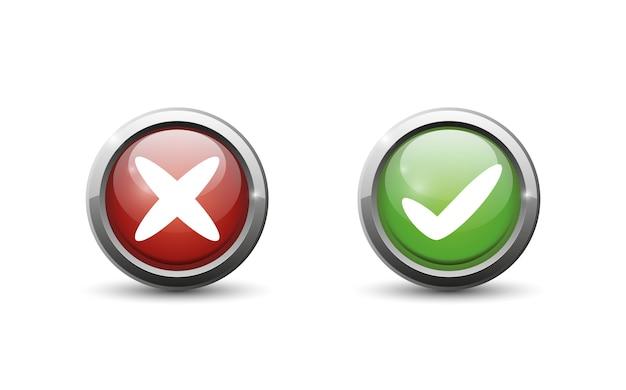 Botón verde y rojo sobre fondo blanco.