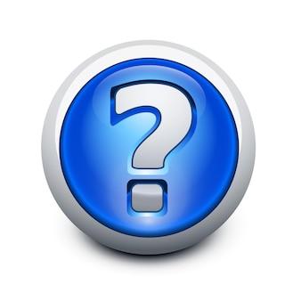 Botón vidrioso con signo de interrogación