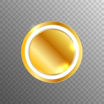 Botón web elegante vector dorado en blanco