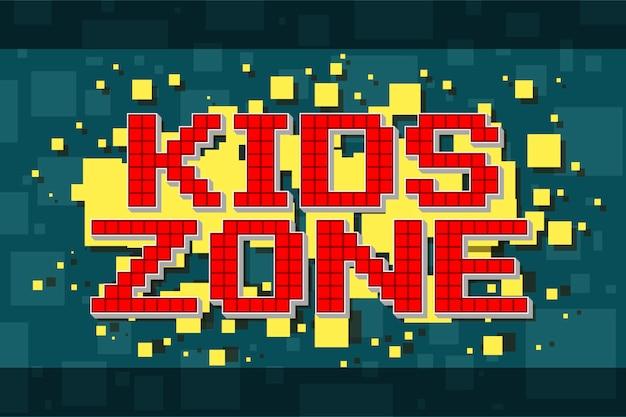 Botón de zona infantil retro pixel rojo para videojuegos
