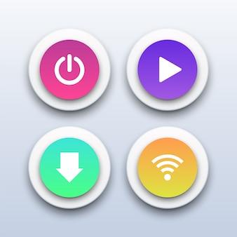 Botones 3d power, play, download y wifi.
