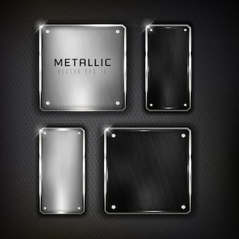 Botones de acero web en color de fondo negro