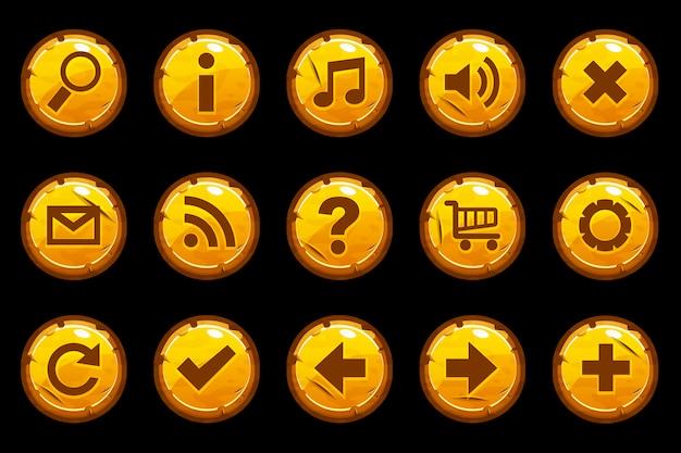 Botones antiguos de dibujos animados círculo oro