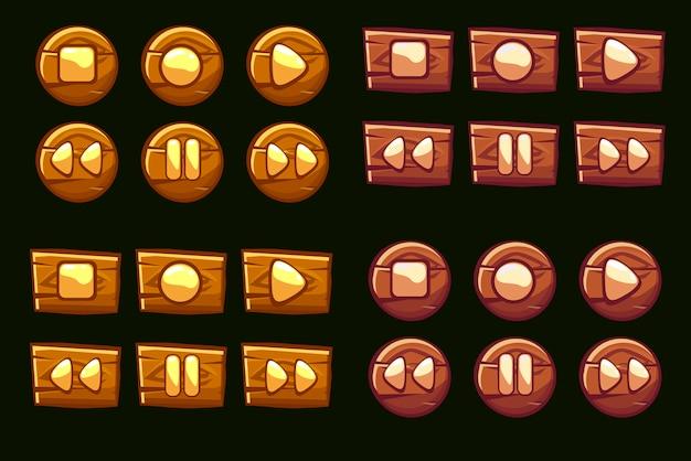 Botones de audio de madera. íconos ilustrados del jugador