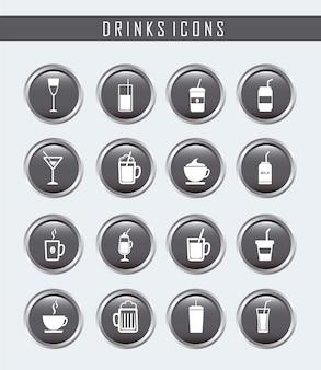 Botones de bebidas sobre fondo gris ilustración vectorial