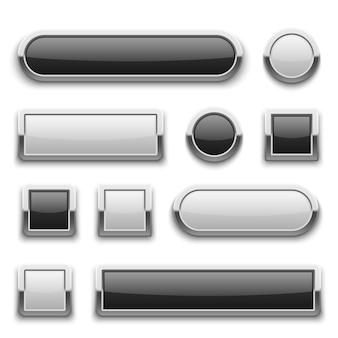 Botones blancos y negros de tecnología 3d