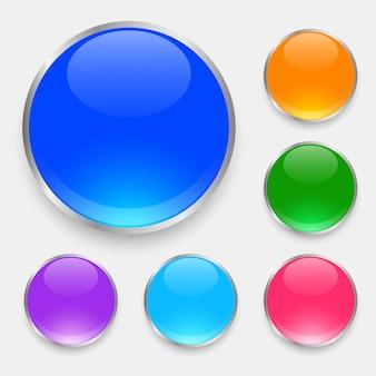 Botones brillantes brillantes establecidos en muchos colores