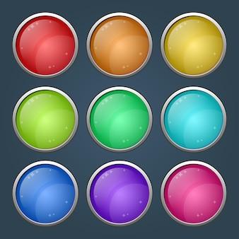 Botones brillantes de círculo redondeado de colores brillantes con versiones presionadas.