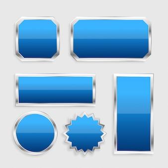 Botones brillantes de color azul con marco metálico.