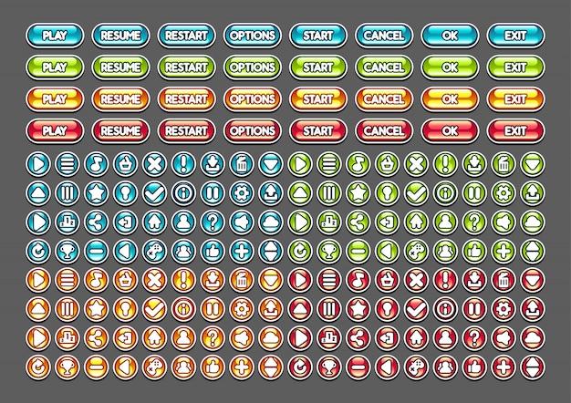 Botones brillantes para crear videojuegos.
