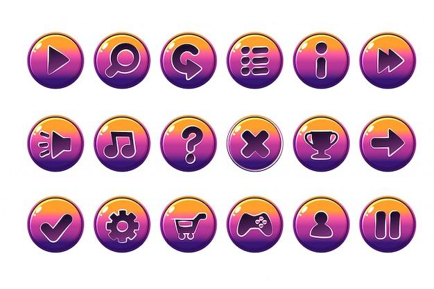 Botones brillantes para todo tipo de elementos casuales, dibujos animados para activos de juegos