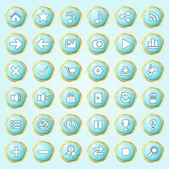 Botones círculo color azul cielo frontera oro icono conjunto para juegos.