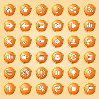 Botones círculo color naranja borde dorado icono conjunto para juegos.