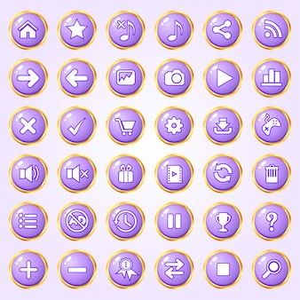 Botones círculo color púrpura borde dorado icono conjunto para juegos.