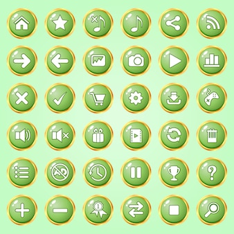 Botones círculo color verde borde dorado icono conjunto para juegos.