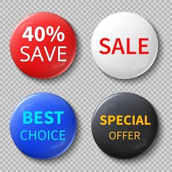 Botones de círculo de venta en 3d brillantes o distintivos con oferta exclusiva de maquetas de texto promocionales.