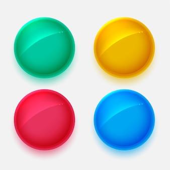 Botones de círculos brillantes en cuatro colores.
