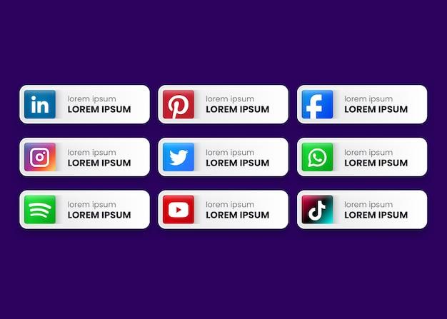 Botones de colección de redes sociales