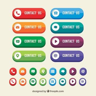 Botones de colores de contacto con iconos en diseño plano
