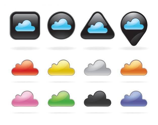 Botones y conjunto de tecnología en la nube.