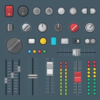 Botones conmutadores, faders, deslizadores, crossfaders e indicadores configurados.