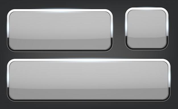 Botones de cristal 3d con fondo de marco cromado.