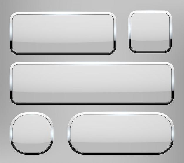Botones de cristal 3d con el fondo del marco del cromo.
