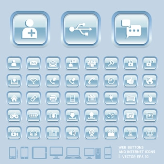 Botones de cristal azul e iconos de internet para web, aplicaciones y tabletas móviles