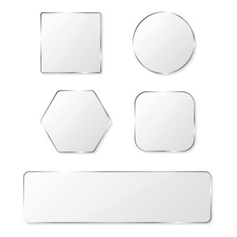Botones de cristal blanco con marco cromado.