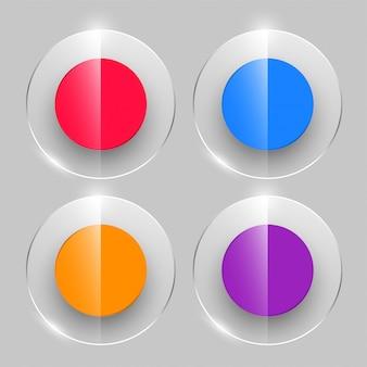 Botones de cristal en estilo brillante en cuatro colores.
