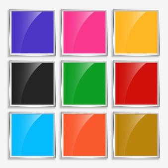 Botones cuadrados brillantes brillantes con marco de metal