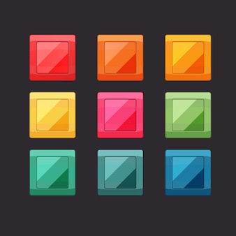 Botones cuadrados brillantes para juegos móviles con interfaz de usuario