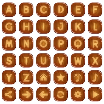 Botones cuadrados de madera para un juego de palabras del alfabeto de la z a la z.